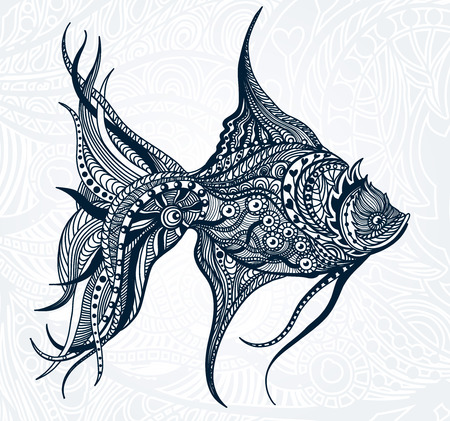 cover book: Abstract graphic Fish. Vector art beautiful illustration.