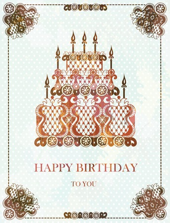 Background with birthday cake. Retro vintage. Vector, EPS 10 Vector