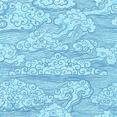 Seamless pattern of blue sky with clouds. Abstract grunge background. Vector, EPS 10