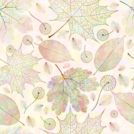 macro leaf: Seamless pattern with autumn colored leaves. Vector illustration, EPS 10