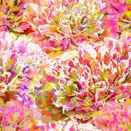 Seamless pattern peony flowers.