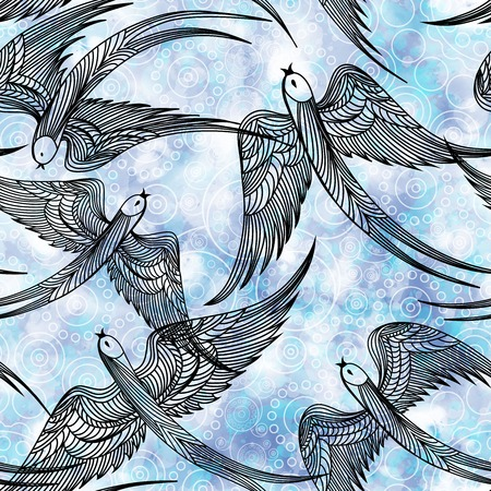 swallows: Seamless pattern with swallows.  Illustration