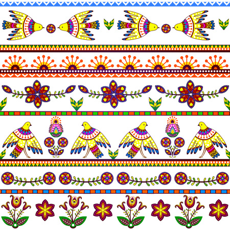mexican background: Seamless pattern with birds and flowers. Floral stripes background, tribal texture.