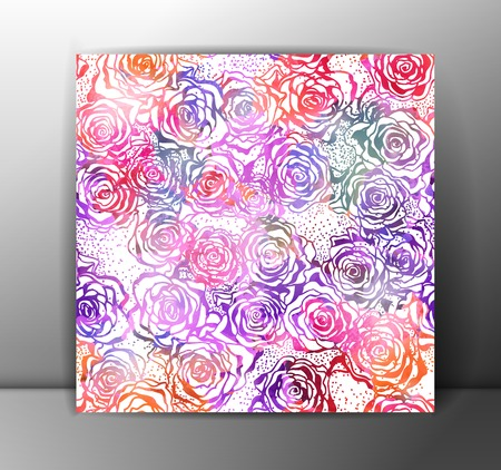 Roses seamless pattern, colorful.