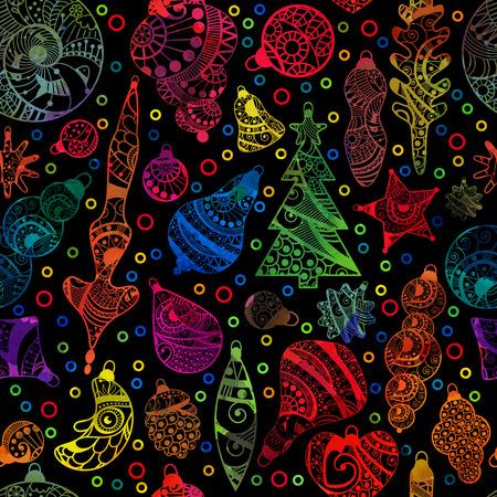 tree decorations: Christmas seamless pattern with Christmas tree decorations.  Illustration