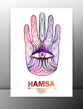 east indian: Hamsa hand card with ornament.