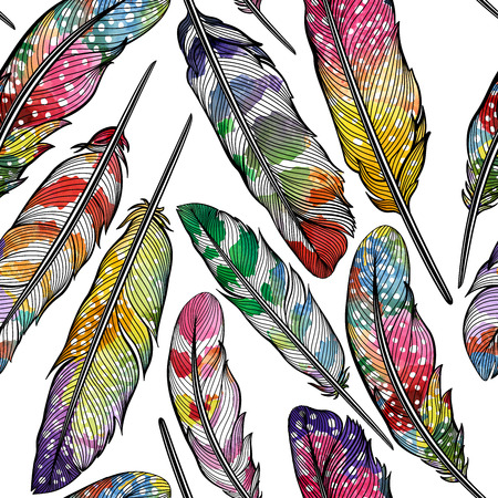on a white background: Seamless pattern with abstract colorful feathers. Vector illustration, .