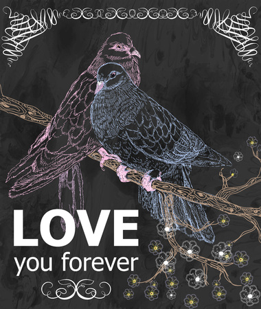 Greeting card with birds. Love you. Vector illustration in retro style, beautiful calligraphic, .