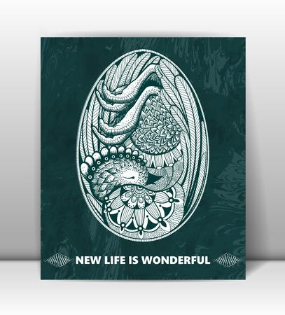 Alles Gute zum Geburtstag. Grußkarte mit Embryo im Ei. Neues Leben ist wunderbar. Zusammenfassung schöne Vektor Hintergrund.