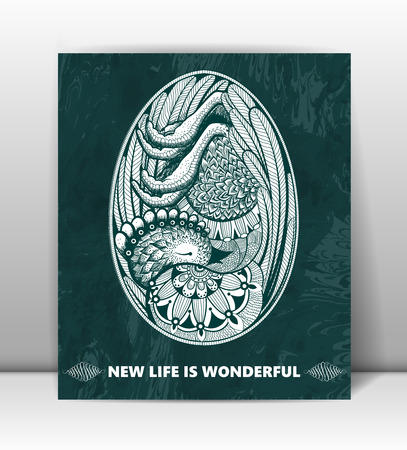 Happy Birthday. Greeting card with embryo in the egg. New life is wonderful. Abstract beautiful vector background, . Ilustração