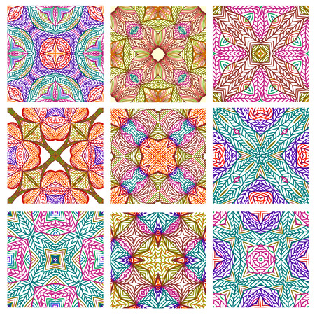 retro patterns: Set of retro seamless patterns of geometric shapes. Vector bright tribal textures. Illustration