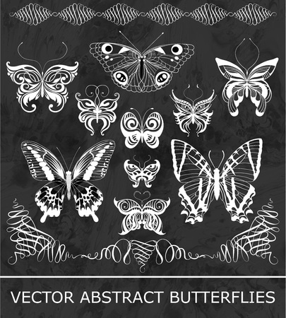 Set of abstract butterflies. Vector illustration in black and white.
