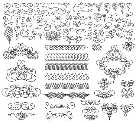 Graphic elements for design. Vector set in black and white color.