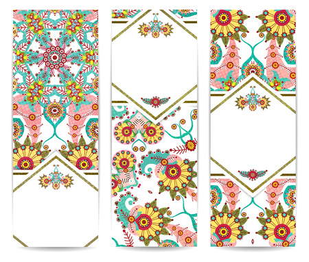 Set of vertical retro banners or backgrounds. Abstract vector illustration