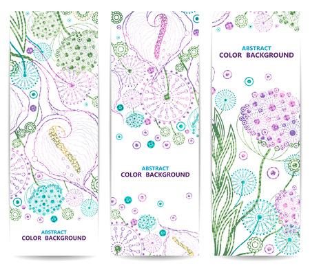 垂直花バナーまたは花と背景のセット。抽象的なベクトル図、EPS 10  イラスト・ベクター素材