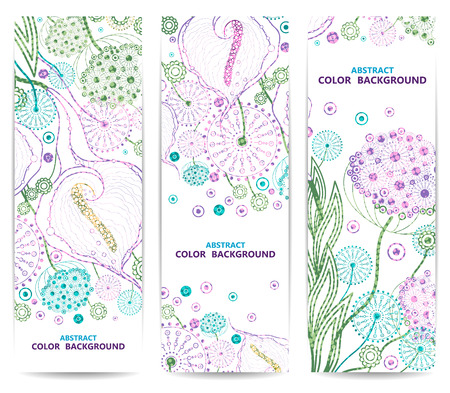 Set of vertical floral banners or backgrounds with flowers. Abstract vector illustration, EPS 10