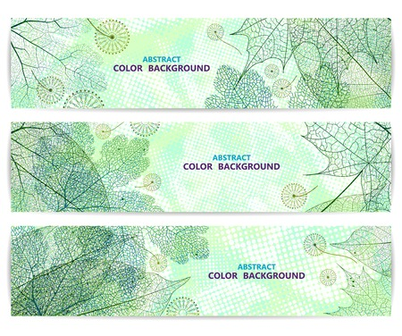 green backgrounds: Set of floral banners or backgrounds with green leaves. Abstract vector illustration, EPS 10