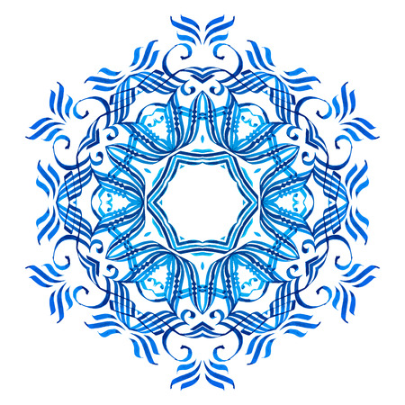 Vector blue watercolor mandala. Abstract calligraphic element for your design, lace ornament. Round pattern. Illustration