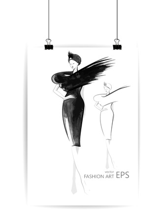 Beautiful fashion women in sketch style. Vector illustration, EPS 10