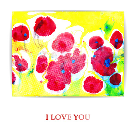 abstract illustration: Artistic flower background or greeting card with flowering red poppies. Vector  Illustration