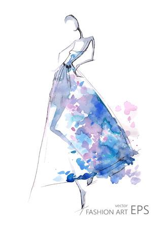 ファッションの女の子や青いドレスの抽象的な女性。ベクトル