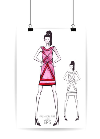 Young women in sketch style, fashion model. Vector illustration Illustration