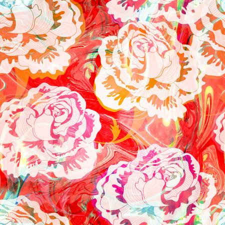 Nahtlose Muster mit abstrakten bunten Blumen. Vektor