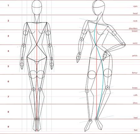Techniczny wektor kobieta rysunek statyczne i w ruchu dla projektantów mody i projektantów mody. Kobieta stylizowane rysunek. Ilustracje wektorowe