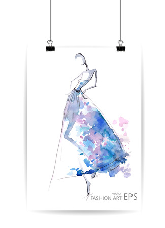 illustration abstract: Fashion girls or abstract woman in a blue dress. Vector