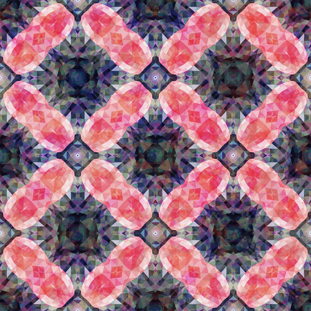 ruby: Abstract mosaic geometry seamless pattern luxury ruby crystals.  Illustration
