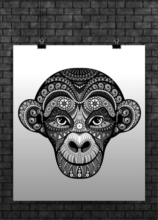 tatoo: Vector Monkey head avatar