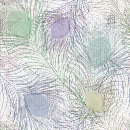 Seamless texture pattern with peacock feathers. Vettoriali