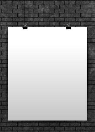 white poster: White poster mock up template on black brick wall.