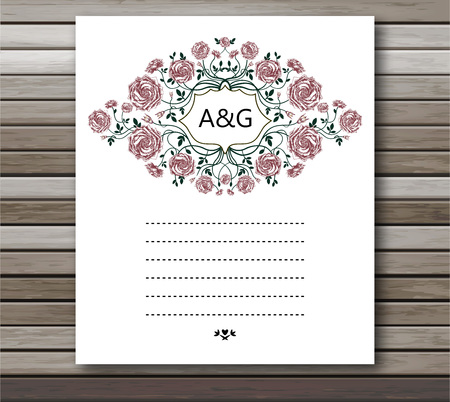 old postcards: Wedding card with roses flowers. Invitation card template with white blooming roses and text Wedding Celebration over them.