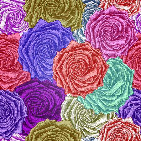 red rose bouquet: Seamless Roses Pattern. Vector colorful, EPS 10 Illustration
