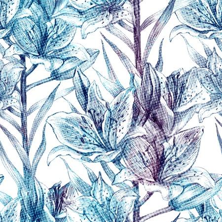 flor de lis: patr�n floral sin fisuras con flores retro. lirio azul sobre fondo blanco, vector EPS 10.