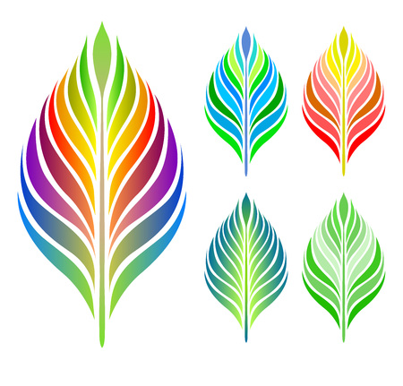 tree branch: Colorful abstract leaves. Vector set. Green leaf vector concept.