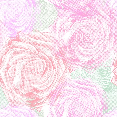 abstract rose: Seamless floral pattern with roses. Vector illustration, EPS 10.