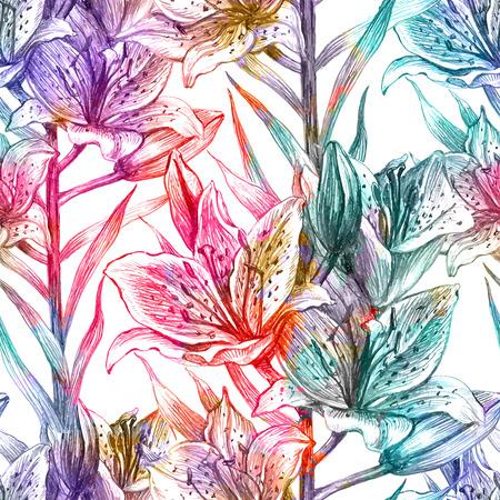 リリーとのシームレスな花柄。ベクトル イラスト、EPS 10。