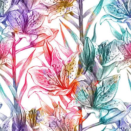 lily: Seamless floral pattern with lily. Vector illustration, EPS 10.