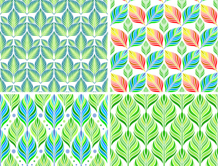 sceleton: Seamless patterns with abstract colorful leaves. Vector set.