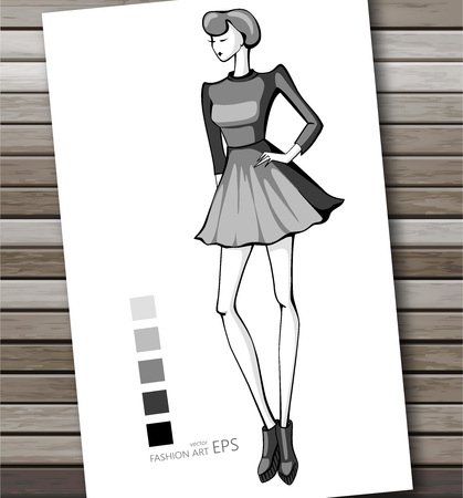 Fashion women in sketch style. Abstract girl. Perfect for any other kind of design. Vector illustration, EPS 10.