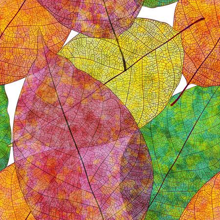 色付き秋のシームレスなパターンを残します。ベクター、EPS 10。