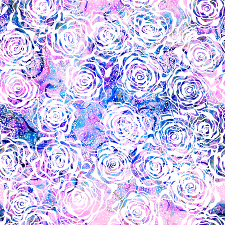 pink flower background: Beautiful seamless floral pattern, flower vector illustration. Elegance wallpaper with of pink roses on floral background.