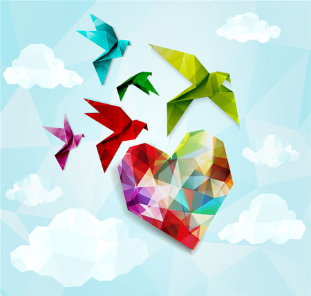 twit: Colorful origami birds with heart background. Vector illustration,