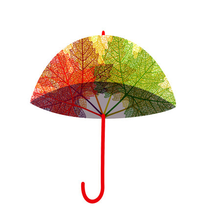 drizzle: Red umbrella protecting against rain, isolated on white background, flat style Illustration
