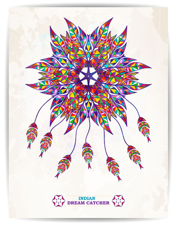 indian feather: Ethnic background with abstract feathers design. Vector Dream Catcher