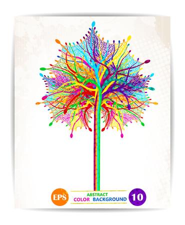 Fondo del diseño del árbol de colorido abstracto. Vector,