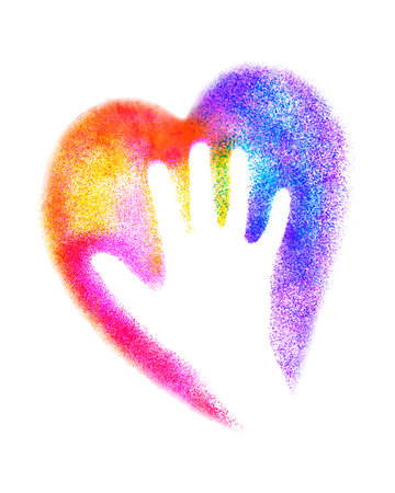 raised: Hand with heart. Vector colorful graffiti illustration. Illustration