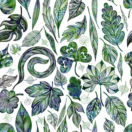 illustrators: Seamless pattern with abstract leaf. Vector illustration,